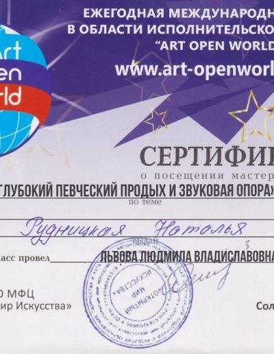Сертификат ART OPEN WORLD